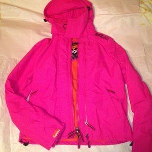 Superdry Pink Windcheater Jacket Fleece lining
